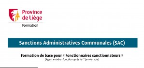 Nouvelle formation aux sanctions administratives communales
