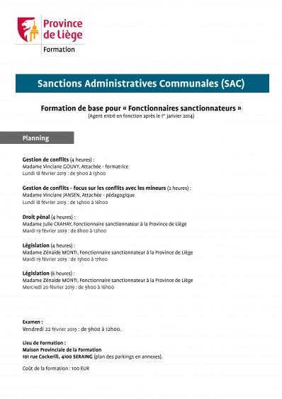 Formation sanctions administratives communales