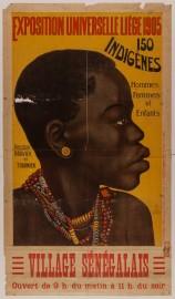 Affiche illustrée annonçant le village sénégalais présenté à l'Exposition universelle Liège de 1905