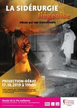 -Affiche présentant la projection-débat consacrée aux témoins de la sidérurgie liégeoise au Musée de la Vie wallonne, le 17 octobre 2019