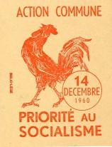 Vignette appelant à manifester contre la Loi unique à Liège le 14 décembre 1960 représentant le coq wallon, Fonds d'Histoire du Mouvement wallon