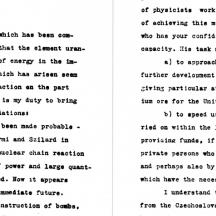 Lettre Einstein-Szilárd à E. D. Roosevelt, en 1939
