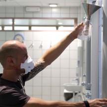 Prélèvement d'eau des douches