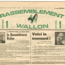 Feuille électorale du Rassemblement wallon (1968)