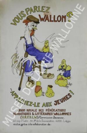 Affiche 'Vous Parlez wallon : apprenez-le aux jeunes'- vers 1980