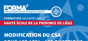 """Formation: """"Modification du CSA pour les ASBL: les questions qui fâchent!"""""""