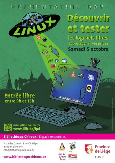 Affiche Découvrez Linux et les logiciels libres. Linux Presentation Day, Liège, 2019.2