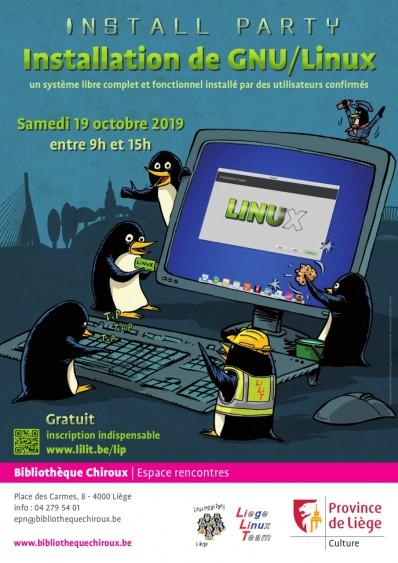 Affiche Linux install party 2019 à la bibliothèque Chiroux