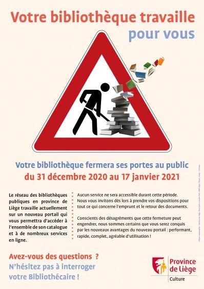 Fermeture des bibliothèques publiques en province de Liège, du 31 décembre au 17 janvier 2021