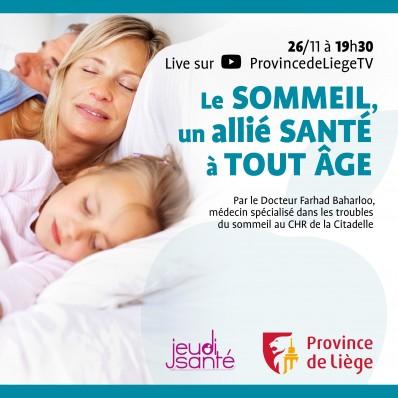JeudiSanté en LIVE : Le sommeil, un allié santé à tout âge !