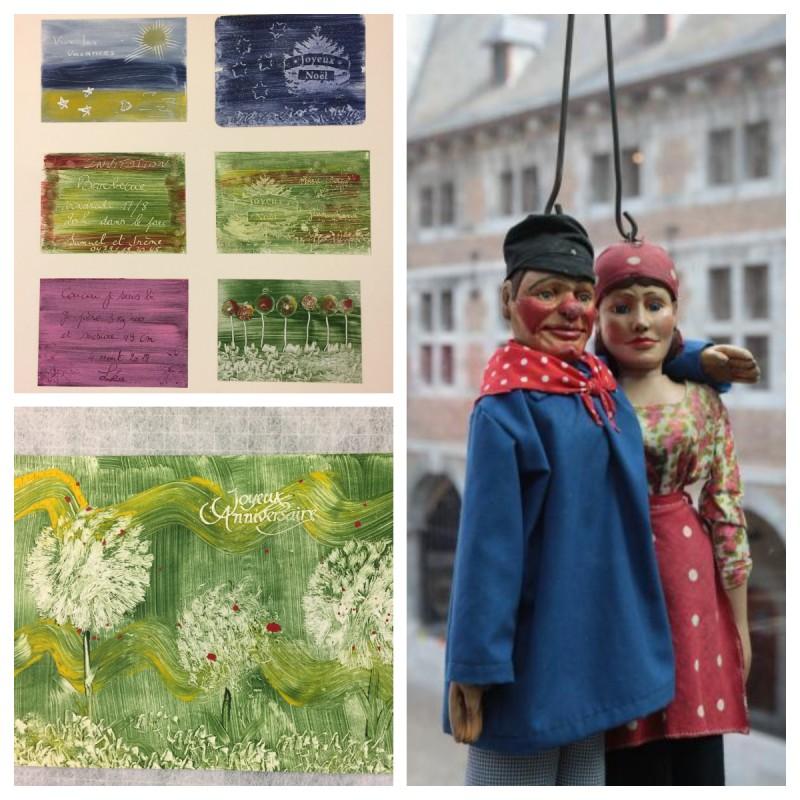Cartes réalisées en papier à la colle/ Tchantchès & Nanesse