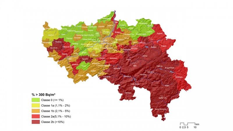 Carte de la présence de radon en wallonie