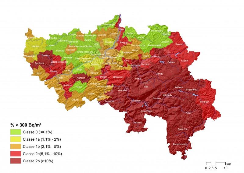 Carte radon Wallonie