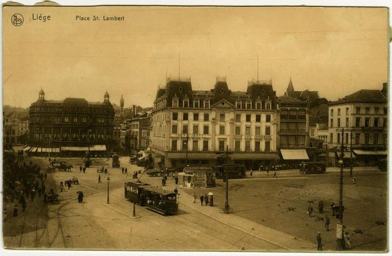 Vue de la Place Saint-Lambert à Liège, vers 1900-1914.