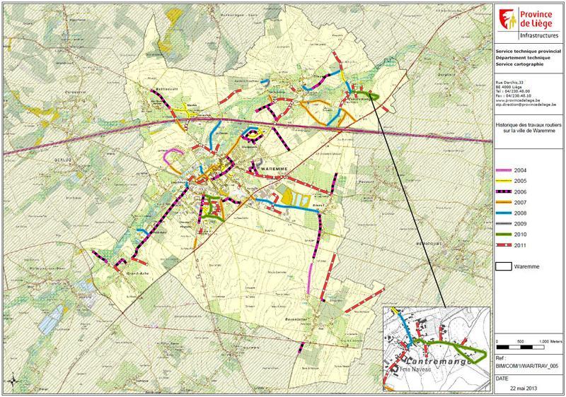 Ville de Waremme - Historique des travaux routiers
