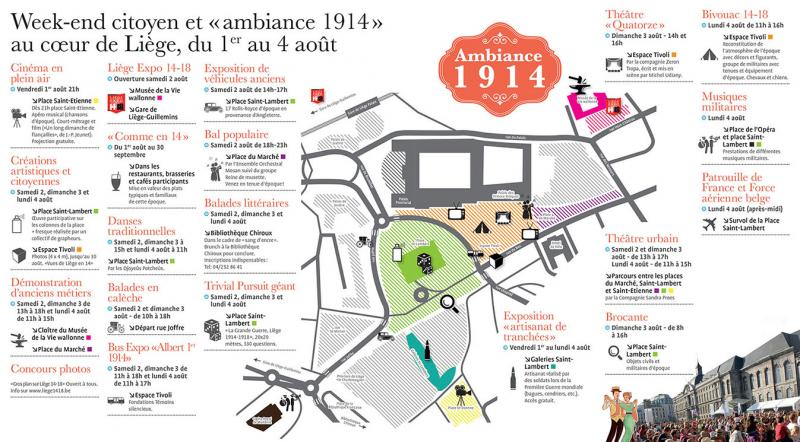 Ambiance 1914 à Liège: plan et programme - 1er WE août 2014