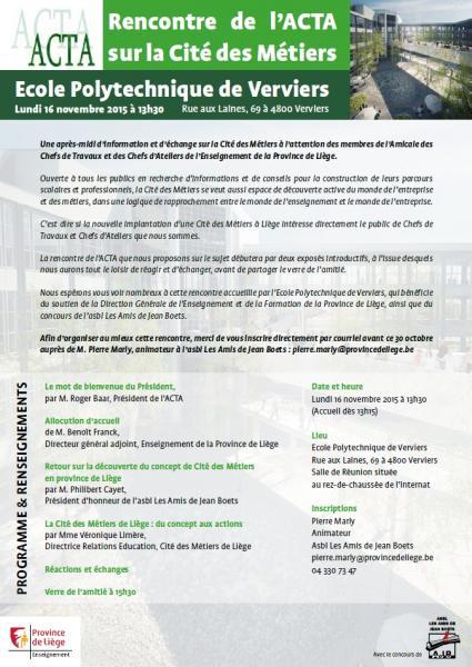 Rencontre de l'ACTA sur la Cité des Métiers