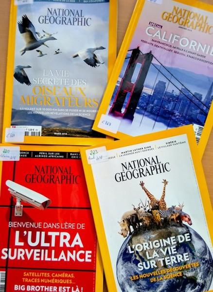 Quelques exemplaires récents du National Geographic