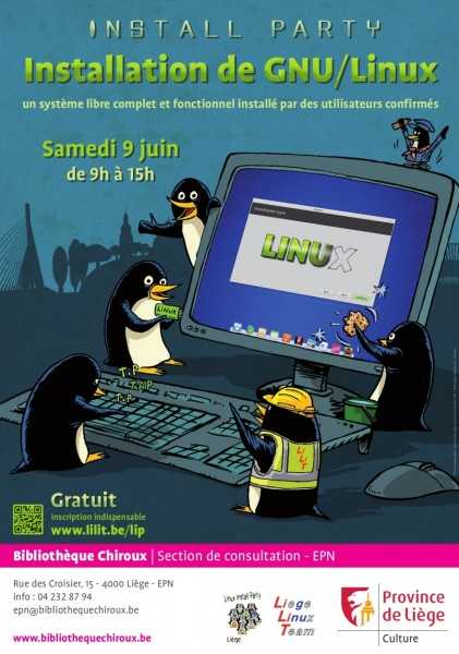 Linux install party à la  Bibliothèque Chiroux, Liège, 9 juin 2018