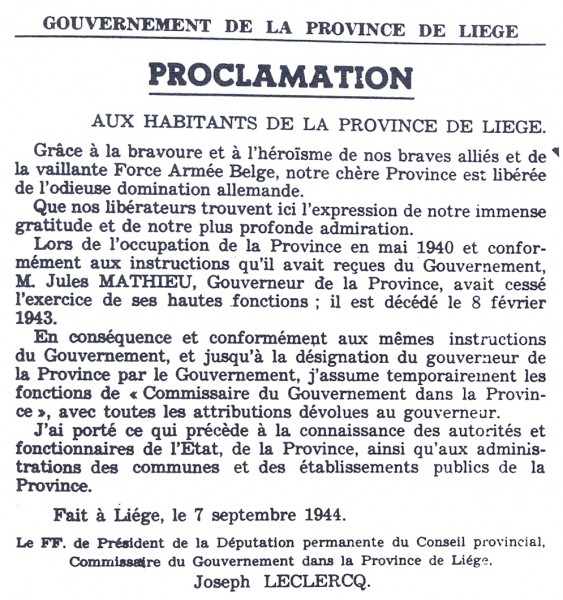 Proclamation de la Libération par le Gouverneur de la Province