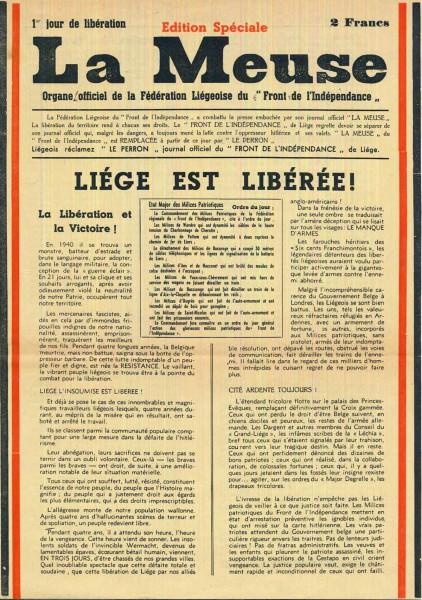 """Edition spéciale du journal """"La Meuse"""""""