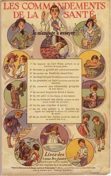 Buvard destiné à inciter les enfants à suivre les 12 commandements de la santé