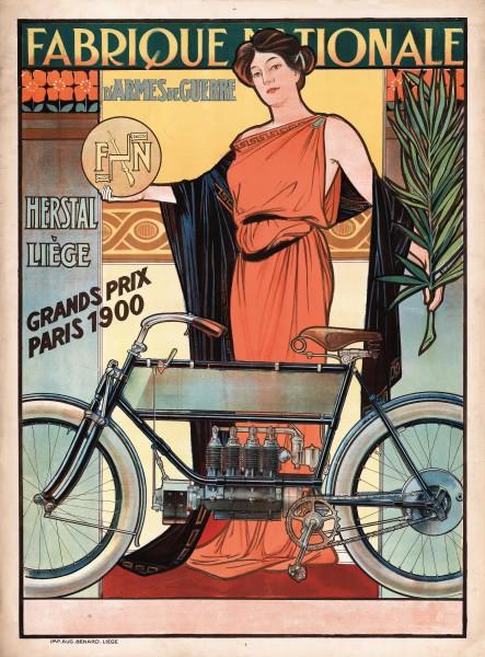 Affiche publicitaire FN 4 cylindres, Liège, vers 1905, coll. Musée de la Vie wallonne