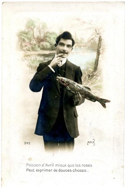 Carte postale du 1er avril, envoyée en gage de bons vœux ou en témoignage d'affection, [1ère moitié du 20e siècle].