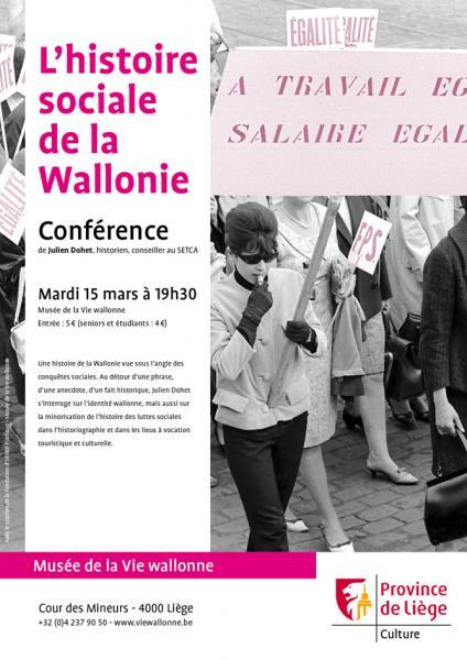 Affiche de la conférence 'L'Histoire sociale de la Wallonie'